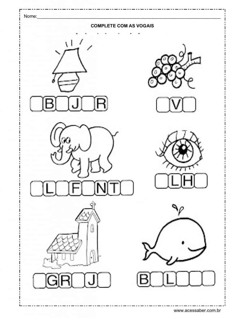 complete com as vogais