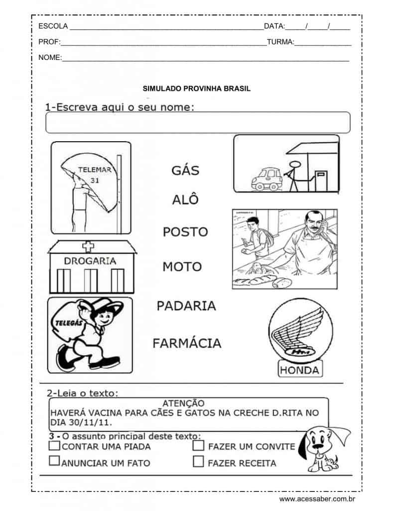 simulado provinha brasil 2º ano