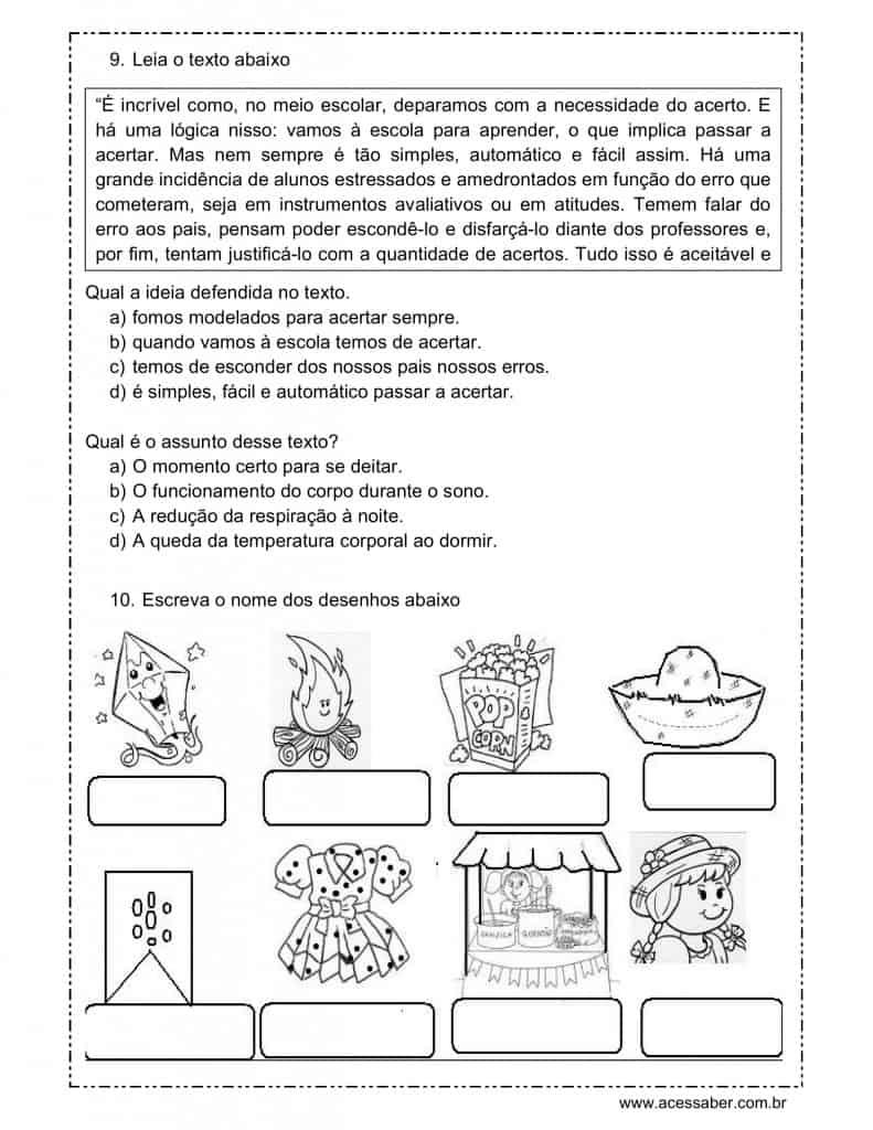Well-known Avaliação de língua portuguesa - 3º ano MI25