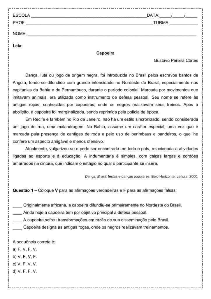 Interpretação de texto: Capoeira - 2º ano do ensino médio