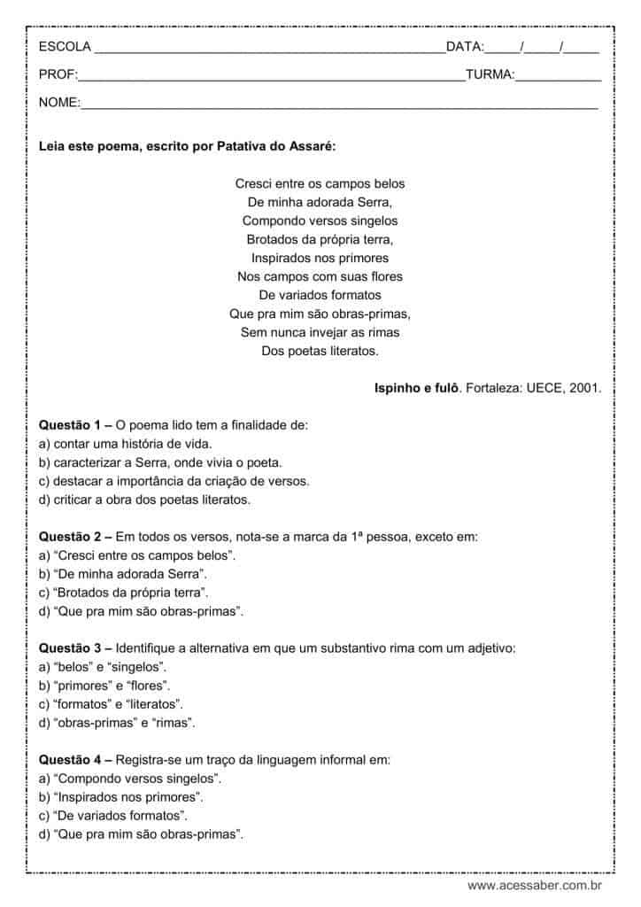 Well-known Interpretação de texto: Poema com rima - 7º ano FO48