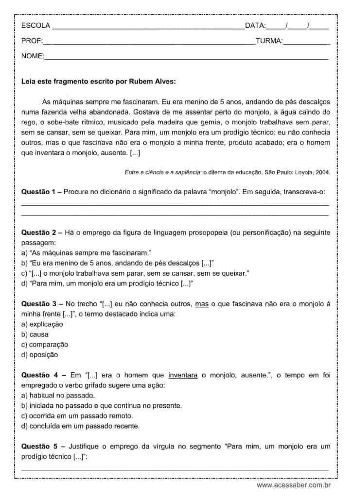 Atividade de língua portuguesa: Figura de linguagem, Prosopopeia - 1º ano do ensino médio