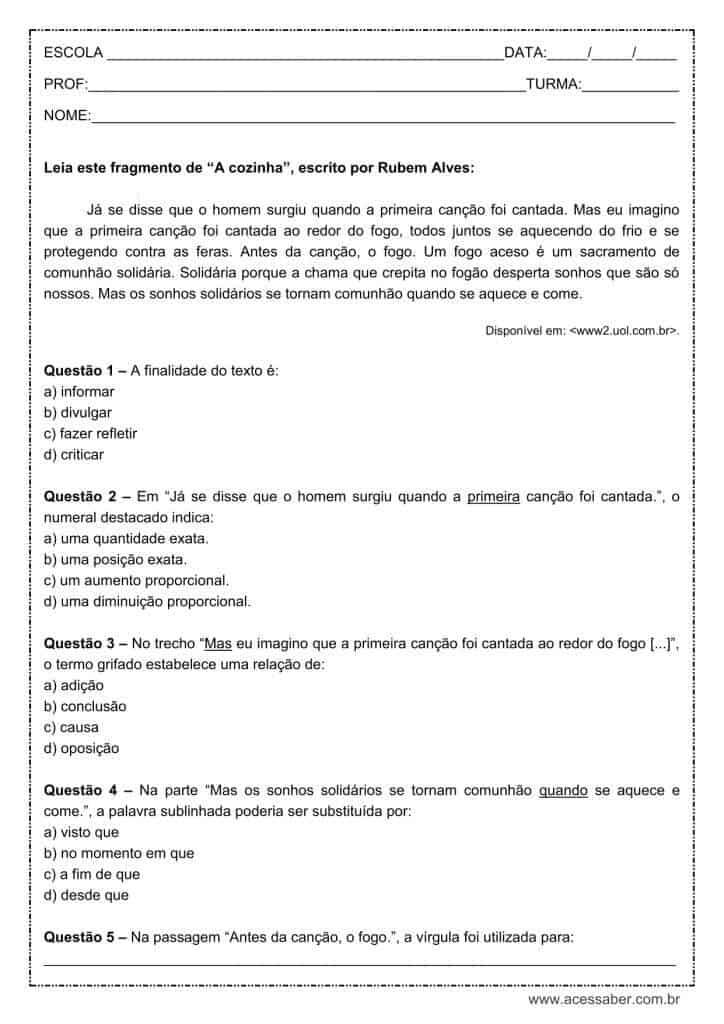 Atividade de língua portuguesa: Numeral Ordinal - 9º ano
